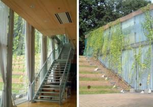 内からはカーテン、外からはよしずと緑のカーテンの、ゴーヤ・ひょうたんも育てている。